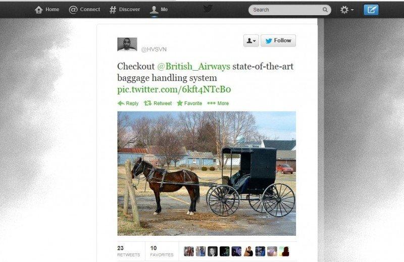 Uno de los tuits del irritado pasajero con el mensaje de: 'Sistema de entrega de maletas de British Airways de última generación...'.