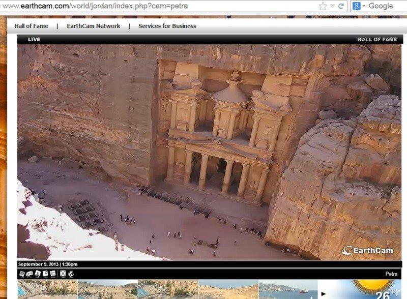 Imagen captada de la webcam situada en Petra, Jordania.