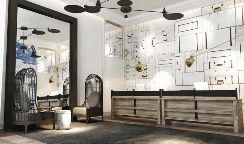 La recepción del nuevo hotel, a cargo también del interiorista Lázaro Rosa-Violán.