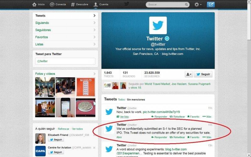 Twitter confirmó ayer sus futuros planes para salir a bolsa a través de un tweet. Click para ampliar imagen.