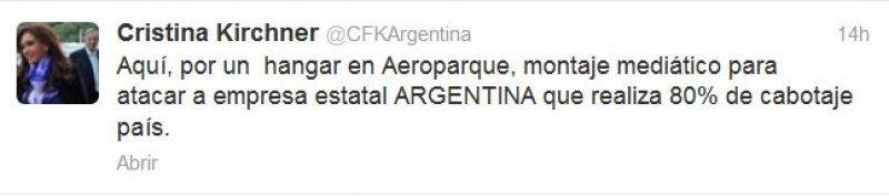 Cristina Fernández de Kirchner le dedicó seis tweets al tema de LAN.