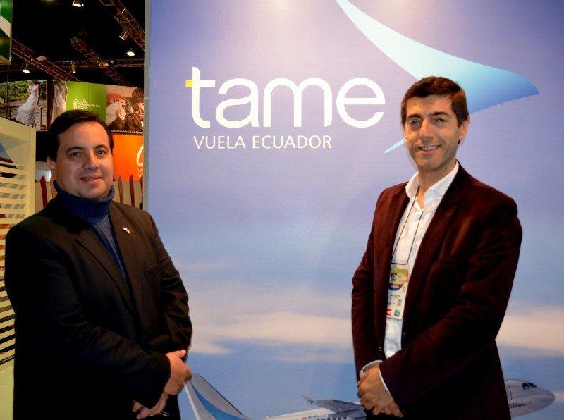 Izq a der: Patricio Cattán (jefe de ventas TAME) y José Contrera (Gerente Comercial GSA Argentina).