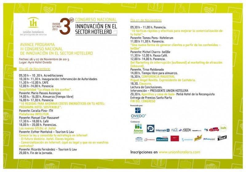 Programa del III Congreso de Innovación en el sector hotelero, que se celebrará los días 6 y 7 de noviembre en Oviedo.