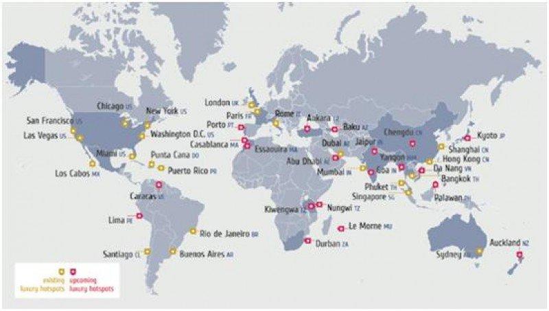 Mapa de los destinos de lujo de hoy y del futuro.