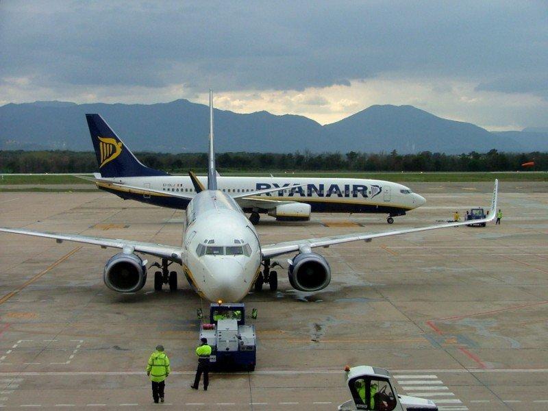 Ryanair en el Aeropuerto de Girona.