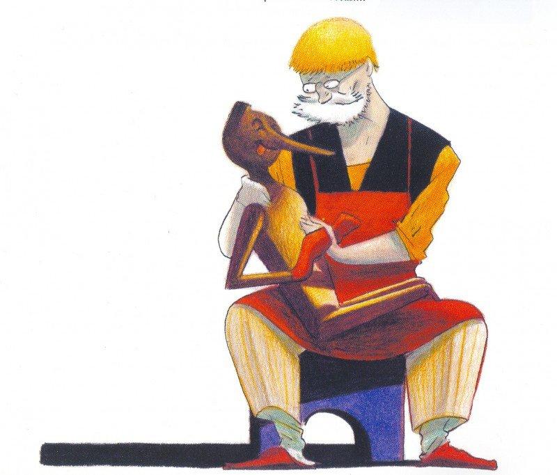 A Pinocho le crecía la nariz cuando mentía. Ilustración de notasomargonzalez.blogspot.com