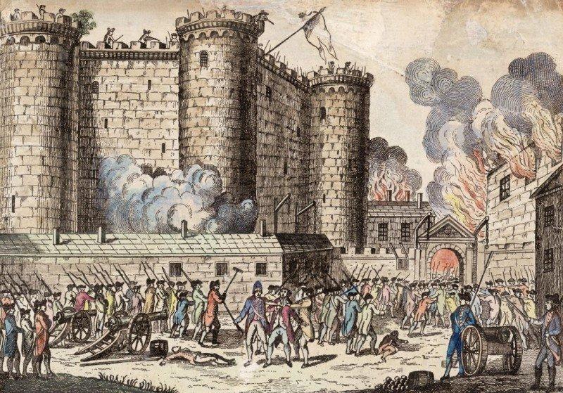 La antigua fortaleza de la Bastilla fue destruida entre el 14 de julio de 1789 y el 14 de julio de 1790.