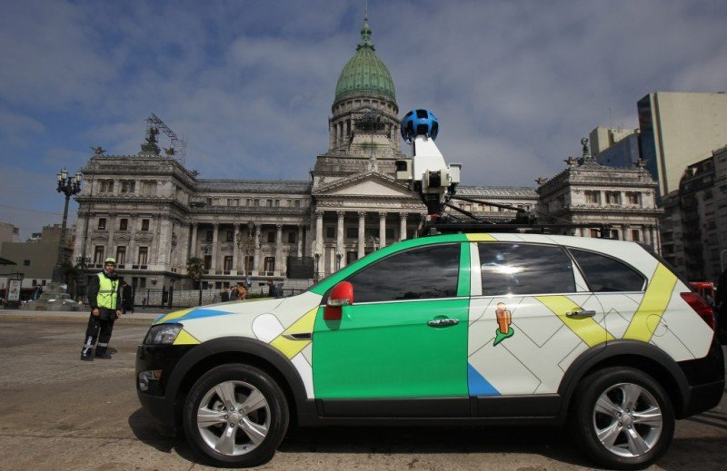 Presentación de Street View frente al Congreso de Argentina.