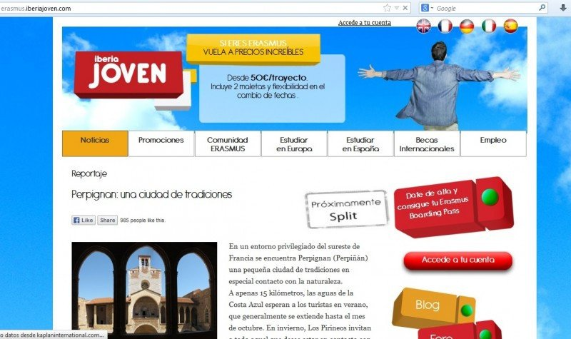 Iberia ha creado la web Iberia joven para los Millennials.