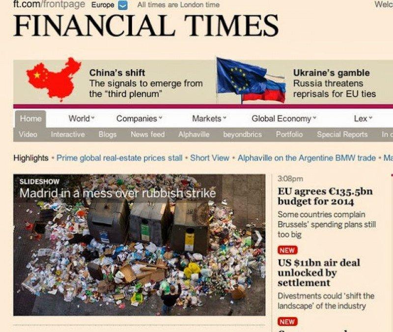 El Financial Times lleva a su portada el conflicto de Madrid.