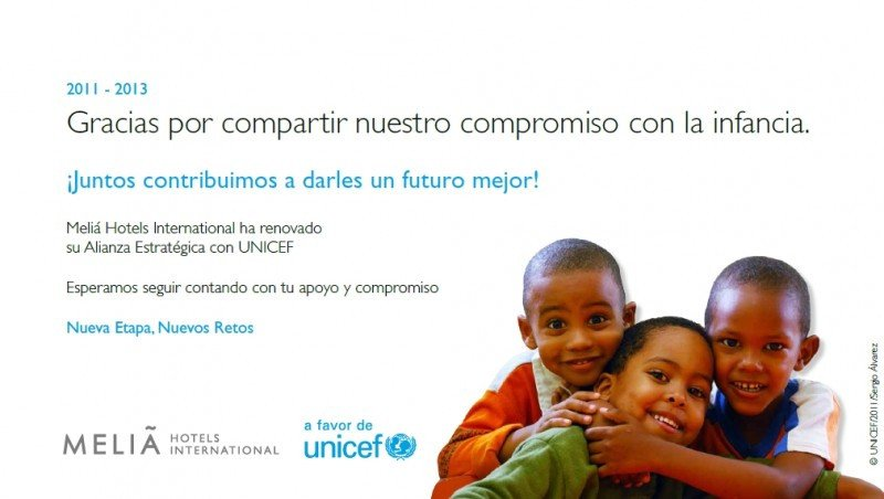 Imagen de la renovación de la alianza estratégica de Meliá Hotels International con UNICEF.