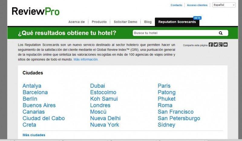 ReviewPro ofrece a hoteleros acceso gratuito a su índice de reputación online