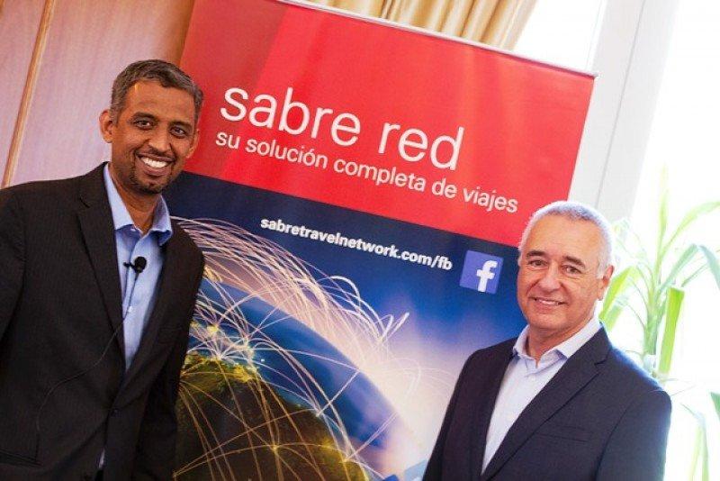 Pradeep Rao director marketing productos y Luiz Ambar vicepresidente Sabre Travel Network en Montevideo.