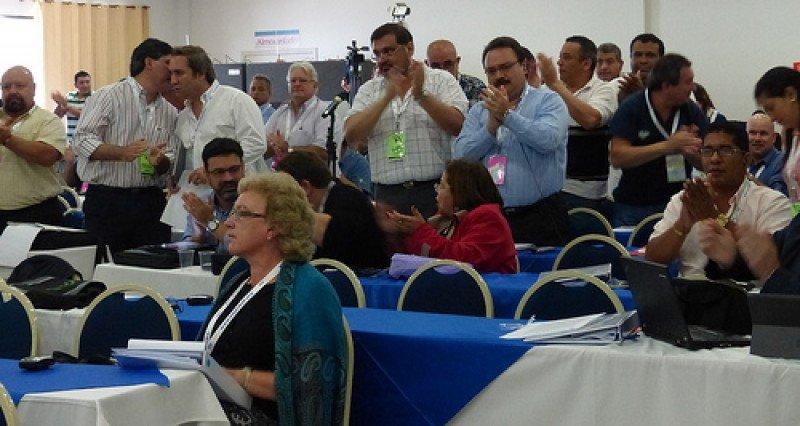 Trabajadores del transporte se reunieron en Rio de Janeiro.