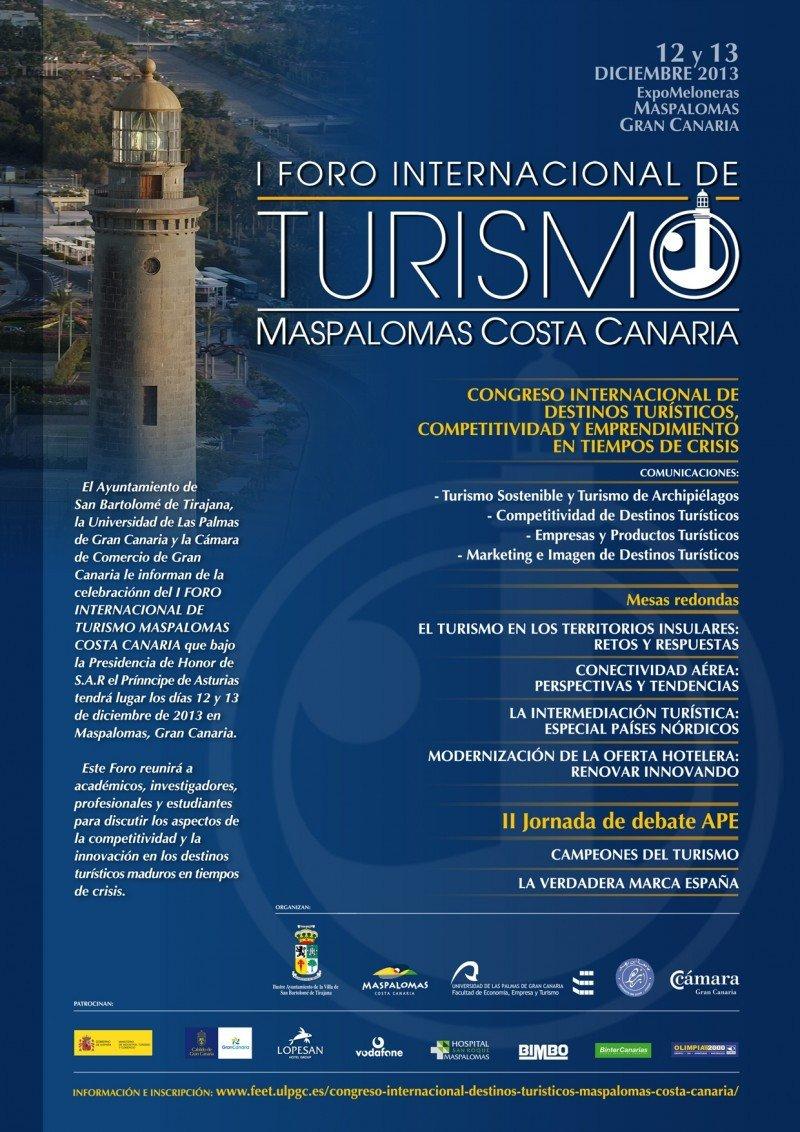 Cartel del Foro de Turismo que se celebrará en Maspalomas.