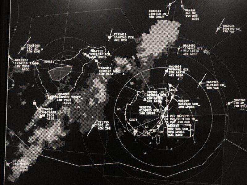 Imagen de radar, lanzada en twitter por el portal Controladores Aéreos  @controladores, quienes indican que ahora hay más tráfico en Tenerife y Gran Canaria, mientras la tormenta está pasando entre las islas.