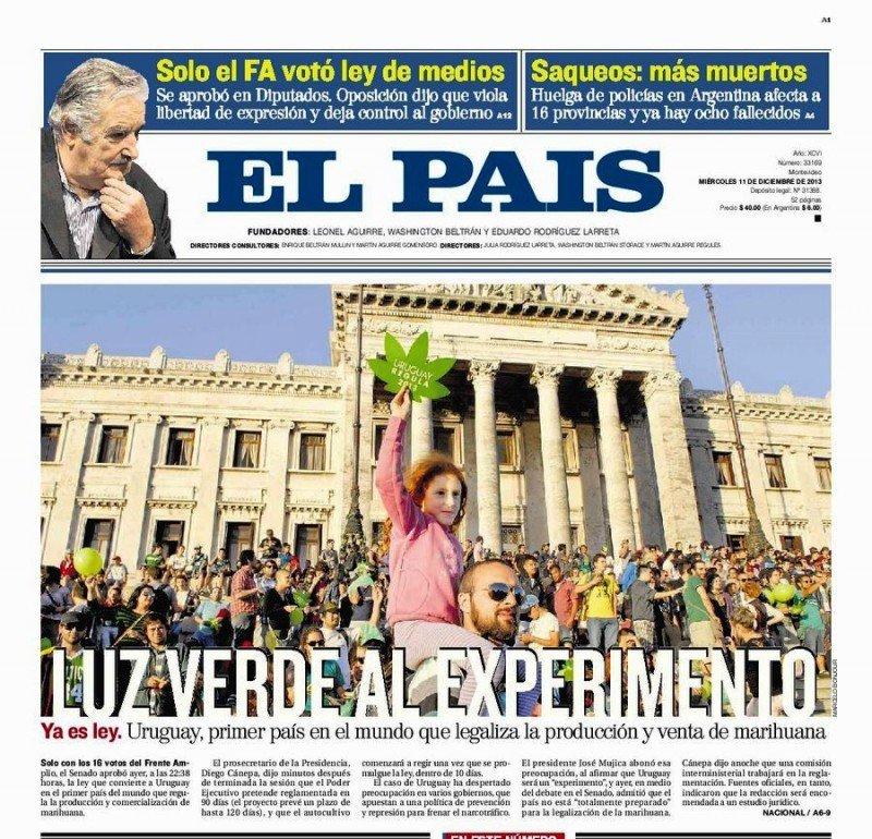 Portada diario El País, miércoles 11 de noviembre.