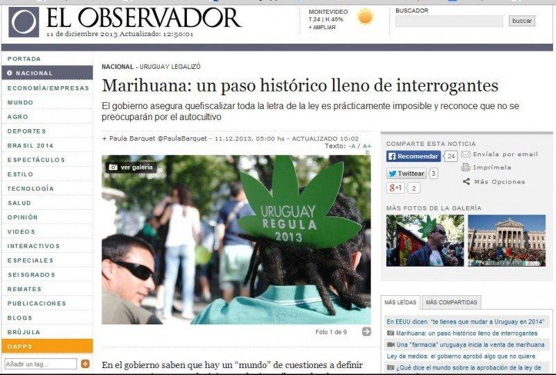 Diario El Observador, miércoles 11 de noviembre.