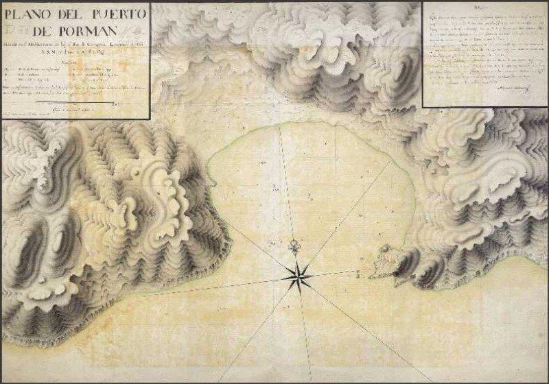La antigua línea de costa de la Bahía de Portmán.