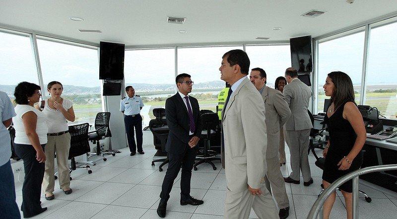 Presidente de Ecuador, Rafael Correa, en la inauguración del aeropuerto de Esmeraldas. Foto: Presidencia Ecuador.