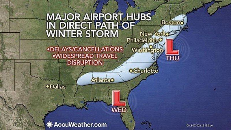 Aeropuertos afectados por la tormenta Pax. Fuente: AccuWeather