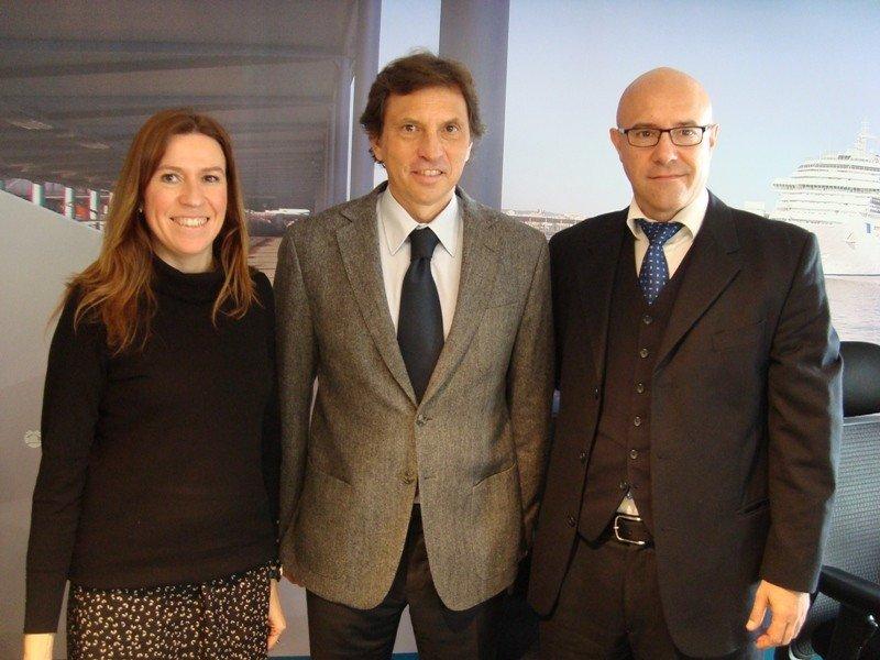 Belén Wangüemert, Mateo Isern y Alberto Pons, en la presentación de la nueva escala de cruceros de Royal Caribbean en Palma de Mallorca.