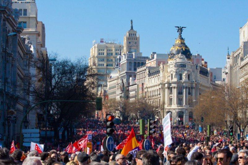 Una manifestación en el centro de Madrid. #shu#