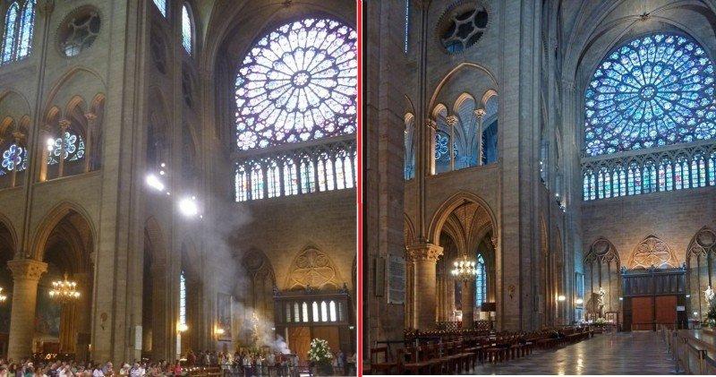 CLICK PARA AMPLIAR IMAGEN. A la izquierda, imagen tomada en julio de 2013 del interior de Notre-Dame. A la derecha, el mismo espacio con la nueva iluminación, que permite contemplar mejor los detalles del edificio gótico.
