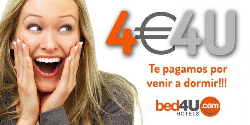 Imagen de la polémica campaña de los cuatro euros de Bed4u Hotels.
