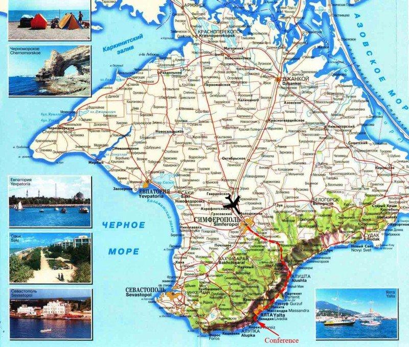 Mapa turístico de Crimea.