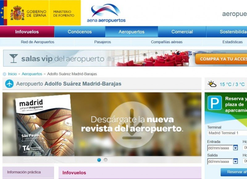 El cambio de nombre de Madrid-Barajas ya fue realizado en la página web de Aena.