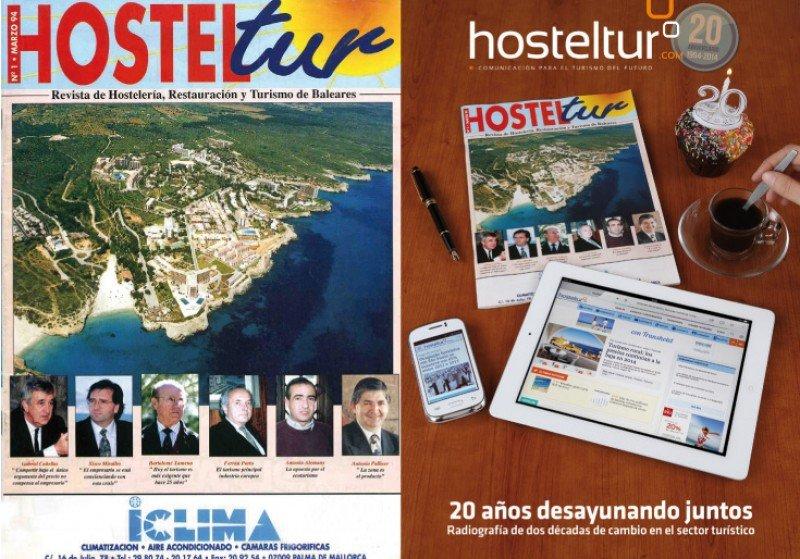 La primera portada de la revista HOSTELTUR y la del Especial XX Aniversario.