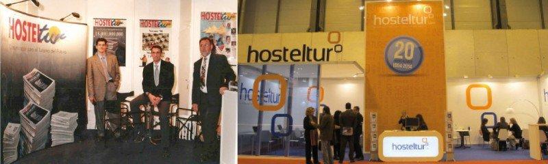 El primer stand de HOSTELTUR en Fitur, en 1997, y el de 2014.