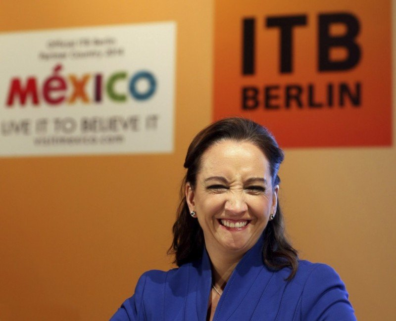 Claudia Ruiz Massieu en la rueda de prensa previa a la inauguración de la ITB Berlín 2014.
