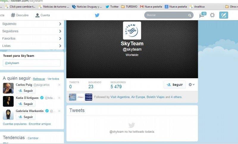 La cuenta de Twitter aun inactiva de Skyteam.