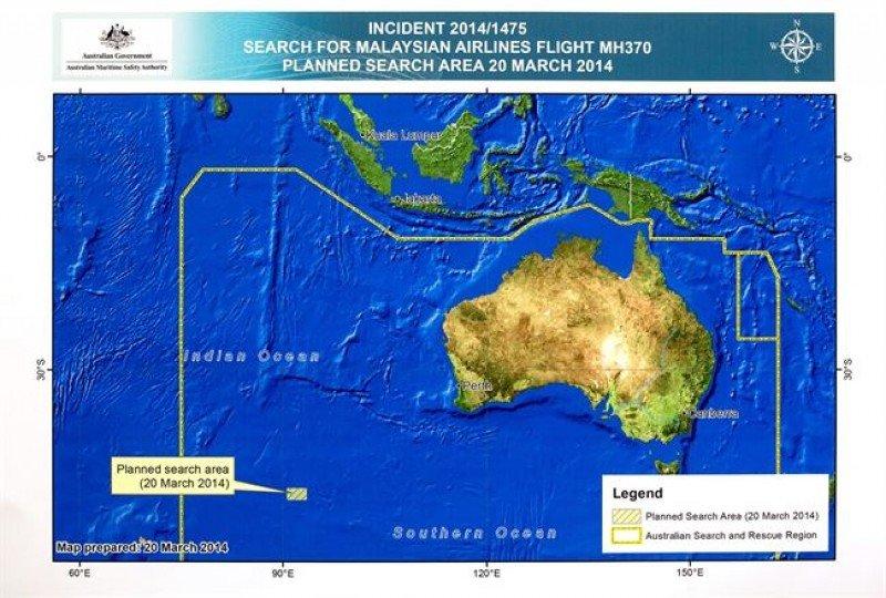 Zona del hallazgo de posibles restos del vuelo MH370.