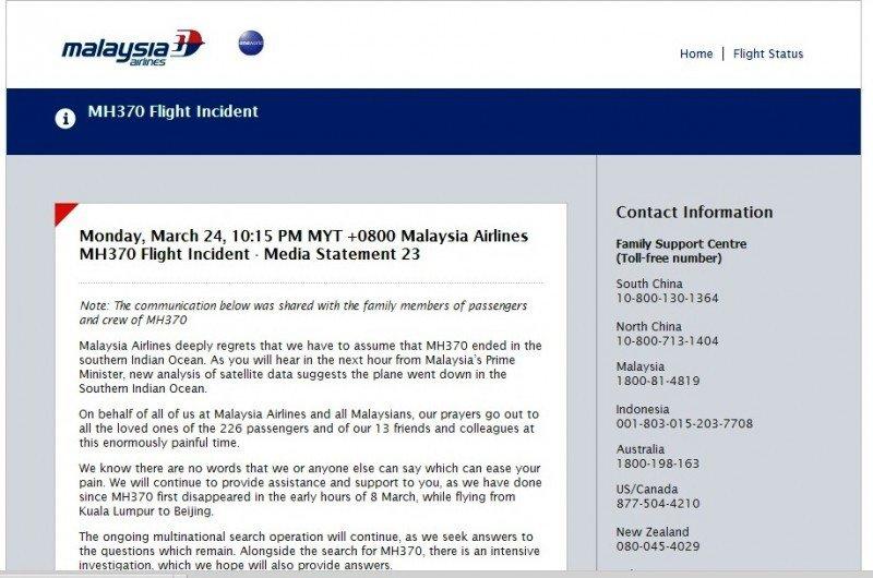 Comunicado de Malaysia Airlines confirmando la tragedia (en inglés).