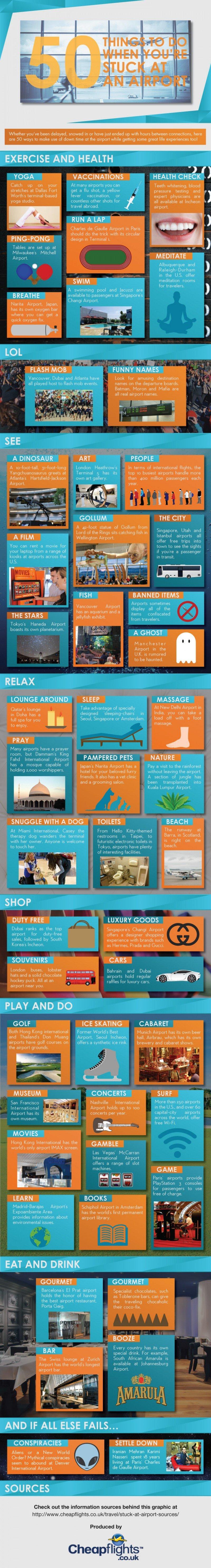 50 cosas qué hacer cuando estás atrapado en un aeropuerto.