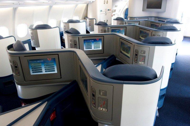 Nuevos asientos en la cabina BusinessElite del Airbus A330-300 de Delta.