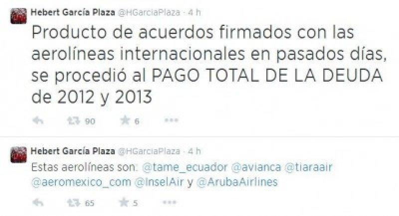 Venezuela anuncia el pago total de la deuda a seis aerolíneas