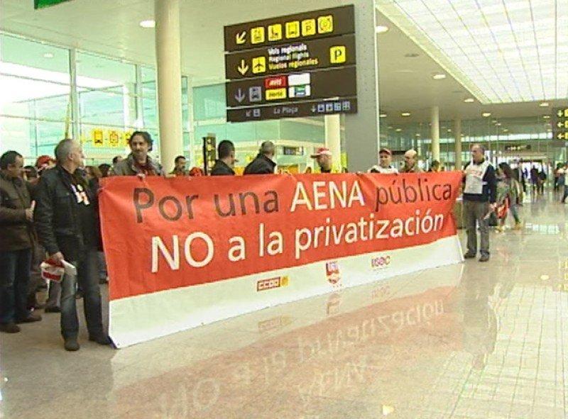 Los trabajadores aeroportuarios reeditarán sus acciones de protesta en contra la privatización de Aena Aeropuertos (Foto de archivo RTVE).