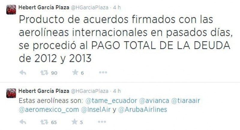 Venezuela anuncia el pago total de la deuda con seis aerolíneas