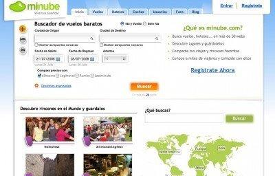 Sitio web de Minube.com.