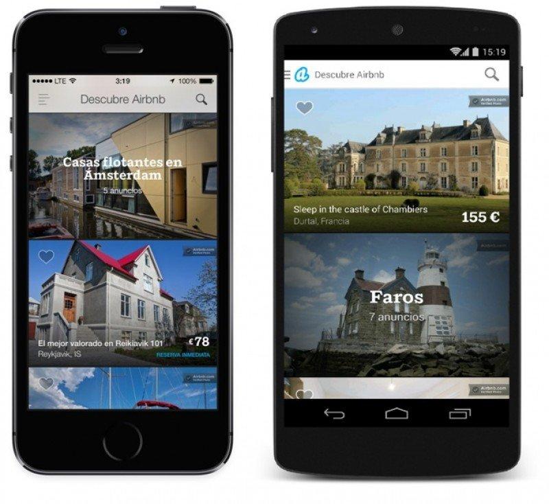 Aplicaciones de Airbnb para smartphones.