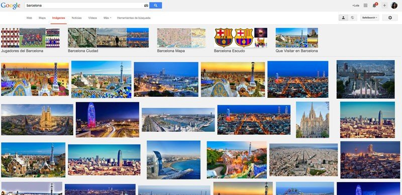 Barcelona en Google para Lola: sin fútbol a la vista.