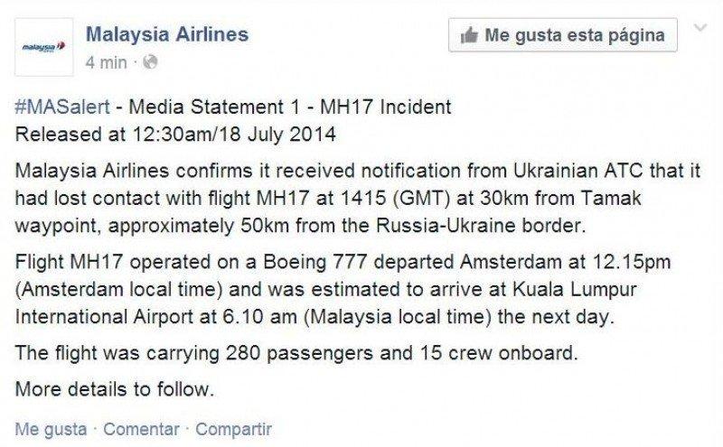 Segundo tuit de Malaysia Airlines.