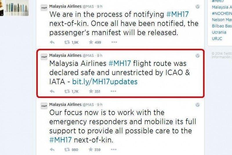 Malaysia Airlines informa en Twitter que la ruta del vuelo MH17 era segura según la OACI e IATA.