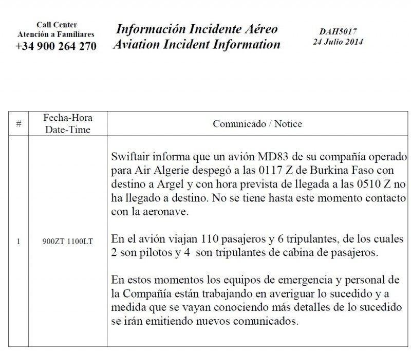 Desaparece un avión de Swiftair operado por Air Algerie sobre Mali