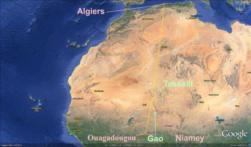 Mapa de la ruta que seguía el avión.