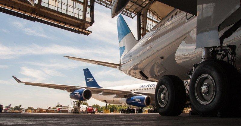 Hangar de Aerolíneas Argentinas en Ezeiza. (Foto: Maximiliano Miranda, @maxiskt).